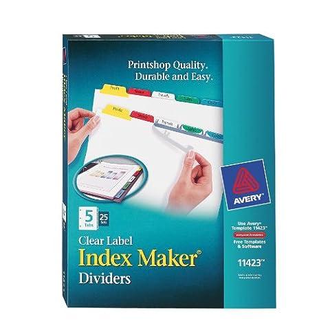 Index Maker Divider w/Multicolor Tabs, 5-Tab, Letter, 25