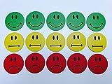 15 bunte Smiley Magnete (5 grüne lachende Smileys / 5 gelbe neutrale Smileys / 5 rote traurige Smileys) / Durchmesser 5cm