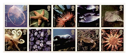 Sea Life Stamps for Postage - 10 x Royal Mail 1st Class Stamps. 2007 Sea life stamps featuring Starfish and Octopus etc