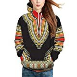 MIRRAY Herren DHerbst Winter African 3D Print Langarm Dashiki Hoodies Sweatshirt Top Kapuzenpullover