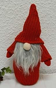 Noël rouge tricot décoratif nain lutin avec zipfelmütze rouge