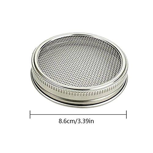 KOBWA Juego de 4 tarros de acero inoxidable con tapa para frasco de malla curvada para jarros de boca ancha o tarros para hacer semillas org/ánicas en casa o cocina