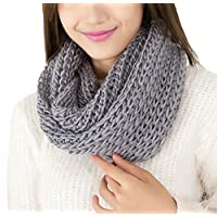 TININNA Winter Warm Chunky Knitted Infinity Snood Scarf Scarves Circle Scarves for Women Girls Ladies Grey