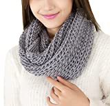 TININNA Caldo Inverno grosso Infinity Snood maglia Sciarpa Circle Sciarpe per le donne signore delle ragazze Grigio