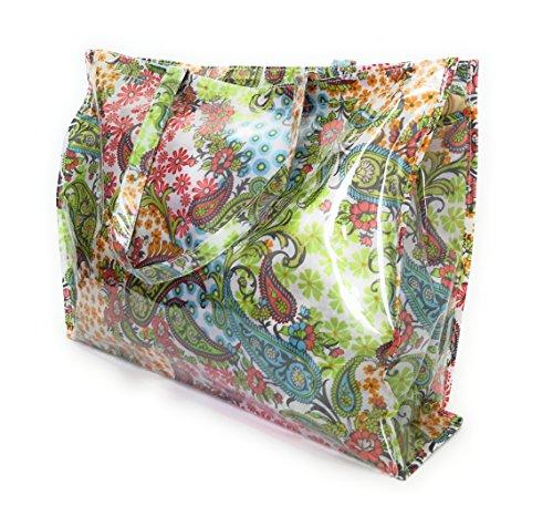 BRANDELIA Bolso Grande Plástico Playa Compras Mujer Bolso Impermeable con Cremallera, Paisley Multicolor