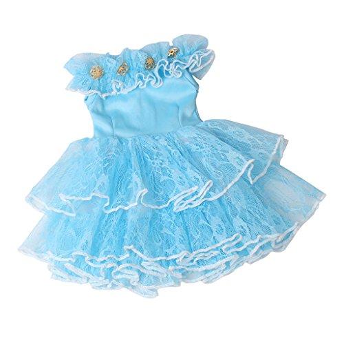 D DOLITY Süße Puppe Kleid Prinzessin Tüll Partyleid Kleidung für 18'' American Girl Puppe Dress Up - Blau