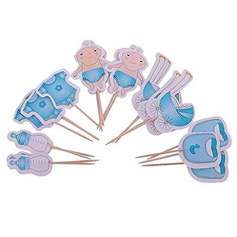 MagiDeal Lot de 20pcs Assortiment Cake Topper Bébé/Landeau/Bavoir/Barboteuse/Biberon pour Baby Shower - Bleu Garçon