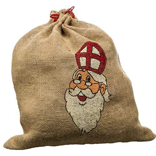 NET TOYS Sacco in Iuta Ornato per Vestito da Babbo Natale | Ca. 60 x 90 cm in Beige-Marrone | Grazioso Accessorio Decorativo per Costume da Santa Claus | Un´attrazione per Natale & Feste a Tema