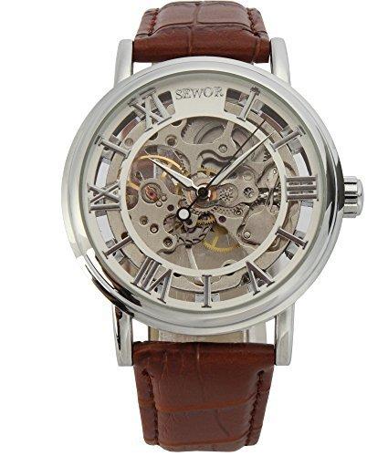 Sewor C847 mechanische Herren-Armbanduhr mit Lederarmband