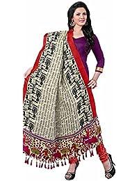 Vivously Purple Bhagalpuri Silk Straight Suit With Dupatta.