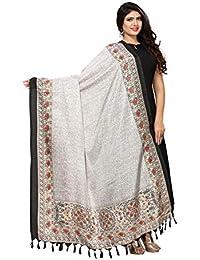 Kanchnar Women's White And Black Bhagalpuri Printed Dupatta - 12FD563