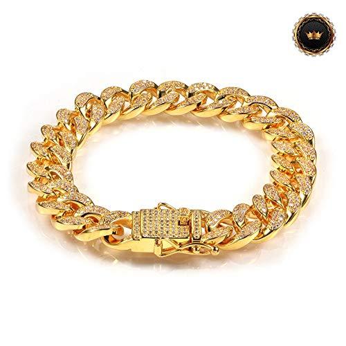 Z-Bracelet@ 7-9Inch Iced Out Panzerkette Armband 18K Gold Plattiert Vergoldet Cuban Link Armbänder Chain Kubanische Gliederarmband 3A CZ Hip Hop,Gold,8inch -