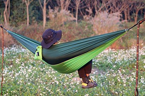 NatureFun Ultraleichte Camping Hängematte / 300kg Tragfähigkeit, (300 x 140 cm) Atmungsaktiv, schnell trocknende Fallschirm Nylon - 8