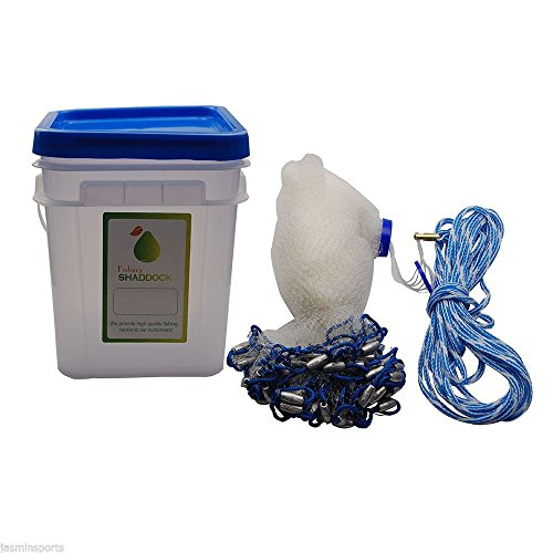 SHADDOCK Angeln® Professional Sole klar Angeln Cast Net Superior handgefertigt Net für Köder Trap Fisch 5ft/1,8/2,4m/Ladekabel mit 3/20,3cm SQ. mesh-1lb (erhältlich 5ft-10ft und Versand durch UPS oder Fedex), 5 Feet* 3/8 Inch/1LB (3/8 8' Net Cast)