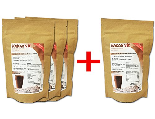 Molke-Kakao Shakes 3 + 1 GRATIS - VERSANDKOSTENFREI und HOCHWERTIGE 4 x 500g Molkenpulver Kakao Geschmack ohne Zuckerzusatz - Molkenpulver von RASO-Allgäu Low Carb - Molke Shakes in der Aroma-Tüte Süßmolkenpulver Ohne Zusatz von Aromen - Vegetarisch - Ohne Gentechnik - eiweißreich - Molke 77,6% mit mit (L+) rechtsdrehenden Milchsäurekulturen, Dolomit (Kalzium - Magnesium/Muskelmineral)