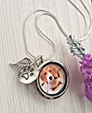 Dog Loss Locket Necklace Memorial Gift - with GIFT BOX & SYMPATHY CARD - Pet Loss Jewellery Angel Paw Print Charm Photo Locket Sterling Silver plated Chain