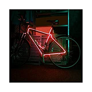 EL Wire Bike frame tunning 3 Meter Tube Rope Battery Powered Flexible Waterproof Electroluminescent Neon Light (Red)