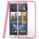 moex HTC One M7 | Hülle Slim Transparent Rosa Impact Back-Cover Dünn Schutzhülle Silikon Handy-Hülle für HTC One M7 Case TPU Tasche Matt