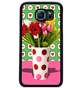 PrintDhaba Flower Vass D-2795 Back Case Cover for SAMSUNG GALAXY S6 EDGE (Multi-Coloured)