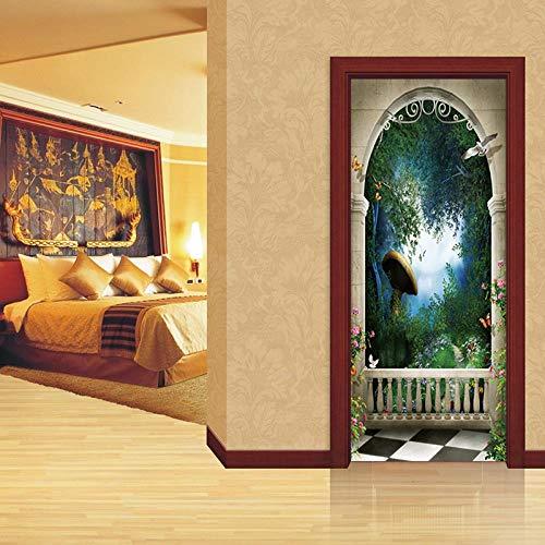 FCFLXJ3D Tür Aufkleber Riesen Pilz Poster Wandbild Tapete Stereo Home Hintergrund Schlafzimmer Tür Dekoration selbstklebend PVC selbstklebend Stereo er 77x200cm -
