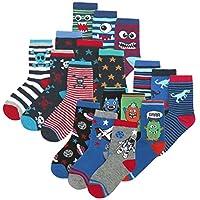 Boys Novelty Cotton Rich Socks (9 & 18 Pairs Multipack) Dinosaurs Space Stars Monster Skulls