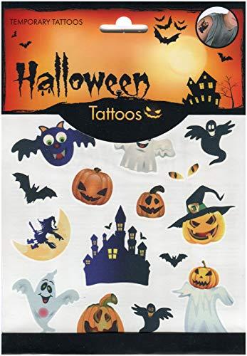 Tattoos, temporäre Tattoos, Tattoos, Tattoos, Kinder - Planche de 15 Tatouages Halloween Citrouilles Chateau Chauve Souris Fantômes ()