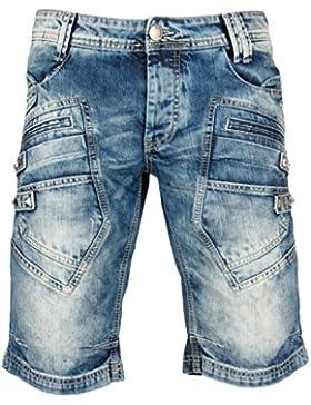 Redbridge Herren denim Jeans Shorts R-31151 blau Cargo Hose kurz Capri mit Nieten vintage look