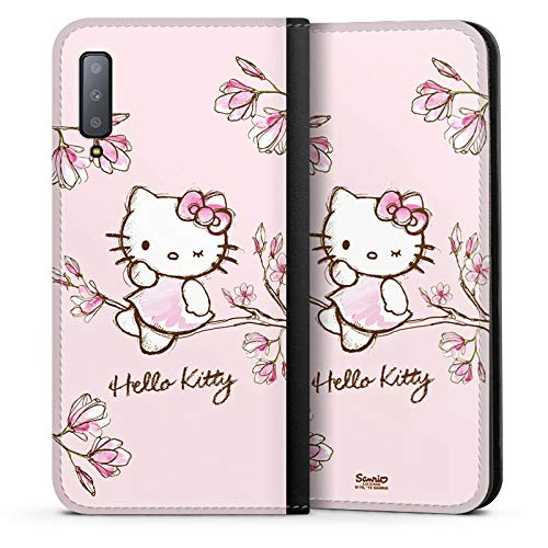 DeinDesign Leder Flip Case kompatibel mit Samsung Galaxy A7 Duos 2018 Tasche Hülle Hello Kitty Merchandise Fanartikel Magnolia