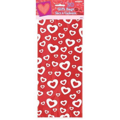 Cellophane cuori afire san valentino sacchetti per feste, confezione da 20