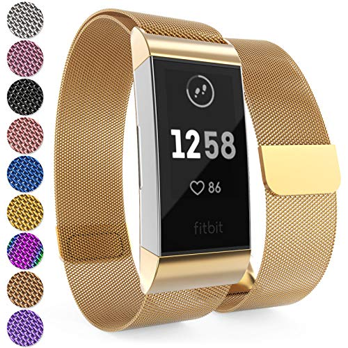 Yousave Accessories® Fitbit Charge 3 Armband, Milanaise Armband, Edelstahl Sport Ersatzarmband für Fitbit Charge 3 Fitness Tracker, Fitbit Charge3 Armbänder - Gold