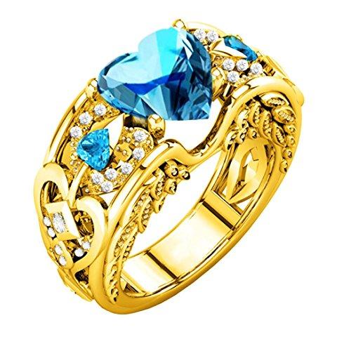 Dragon868 Silber natürliche Rubin Edelsteine Birthstone Braut Hochzeit Engagement Herz Ring (10, Hellblau) ()