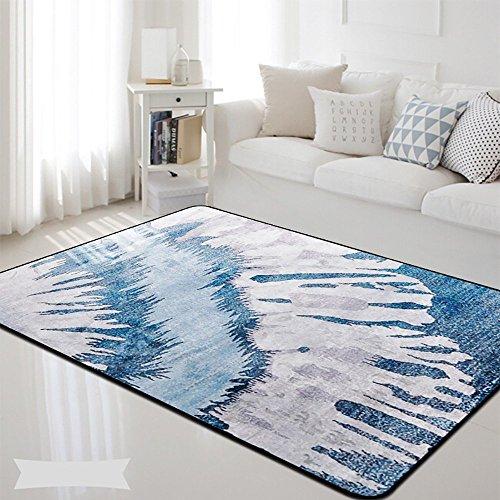 Teppich Teppich nordischen Stil Modernen Minimalistischen Hause Wohnzimmer Schlafsofa Bett Anti-Rutsch-Bar Design-Muster Blue Line (Size : 100 * 150cm, Style : D)