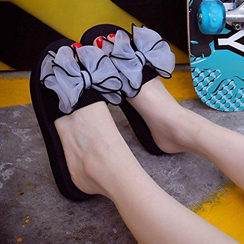 Saingace Frauen Sommer Bowknot Sandalen Slipper Indoor Outdoor Beach Schuhe Grau