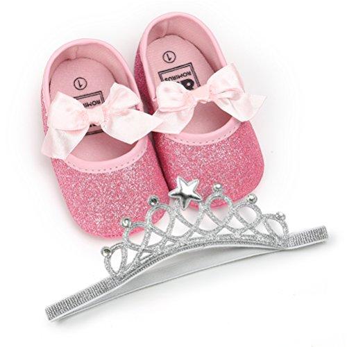 EDOTON Baby Mädchen Schuhe mit Krone Haarband Bowknot Pailletten Lauflernschuhe Anti-Rutsch-Weiche Taufe Prinzessin Schuhe Sneaker für Kleinkind (12-18 Monate,...