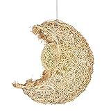 Rattan Pendelleuchte Modern Ländlich Mondform Design Hängeleuchte Leuchte Beleuchtung Kinderzimmer Lampe Deckenleuchte Schlafzimmer Arbeitszimmer Küche Hängelampe Hängende Licht Ø28cm