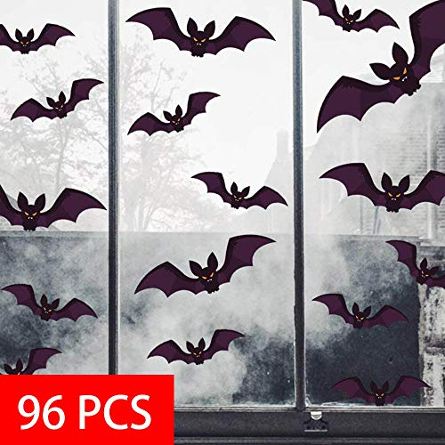 heekpek Halloween Wandtattoo Party Dekoration DIY Home Deko Wandaufkleber Fledermäuse 96 pcs Fledermäuse Wanddeko Party DIY Dekoratio Fledermaus Aufkleber Halloween Dekoration