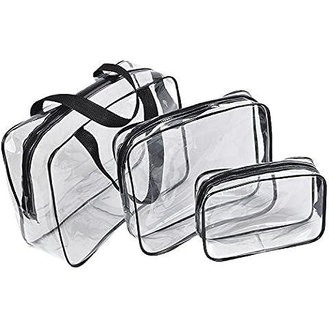ESYN de 3 piezas de maquillaje de Tocador PVC claro bolsa de viaje del kit del sistema del sostenedor de la cosmética a prueba de agua