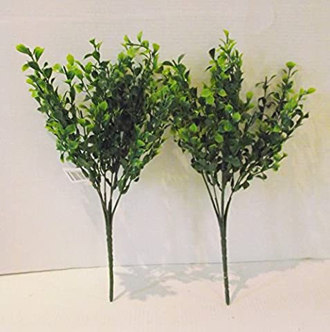 Set of 2 Artificial Tea Leaf Bushes - 35 cm