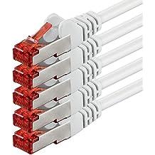 1aTTack - Cable de red SSTP PIMF con 2 conectores RJ45 de doble apantallamiento CAT 6 0 Blanco - 5 piezas 2 m