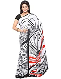 Ligalz Women's White And Black Crepe Silk Saree (Special Discounted Price Only For THE GREAT INDIAN FESTIVAL)