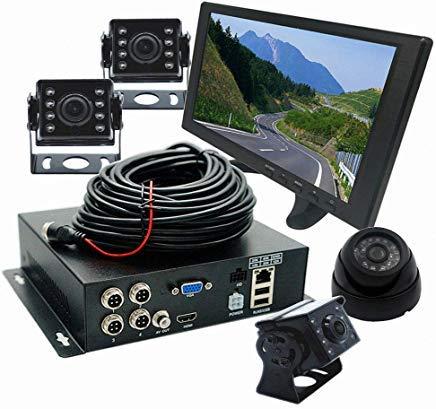 WeniChen 4-Kanal-1080P HDVR Kit für Fahrzeuge Bus LKW Anhänger - 4-Kanal-Festplatten-Videorekorder + 4X 720P Front-Seiten-Rückfahrkameras + 25,7 cm (10,1 Zoll) HDMI-Monitor + 4 Kabel