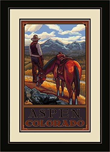 Northwest Art Mall pal-0817mfgdm COR Aspen Colorado Cowboy auf Reihe gerahmt Art Wand von Künstler Paul A. lanquist, 13von 40,6cm