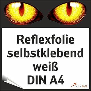 Reflexfolie, weiß reflektierend und selbstklebend, DIN A4 von Interfoil