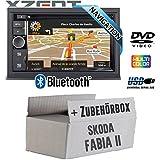 Skoda Fabia 2 - Autoradio Radio Xzent X-302BT-MK2 | 2-Din Navigation Bluetooth USB CD DVD Touchscreen TFT Navi Europa 47 Länder HDMI Einbauzubehör - Einbauset
