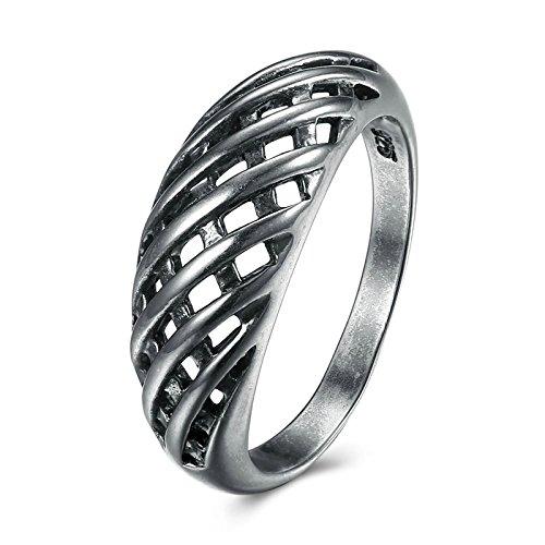 Bishilin Schwarzring Vergoldet Ring für Damen Rund Hohl Rechteck Gitter Hochzeitsringe Verlobung Ring Schwarz Weihnachtsgeschenke Größe 52 (16.6) (Rot Gitter, Vorhänge)