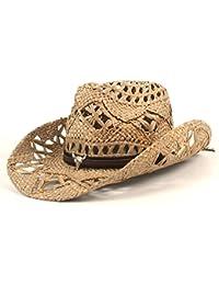 Gr Natürliche Jazz-Stroh-Cowboy-Hut-Frauen-Mann-Handgemachte Webart-Cowboy-Hüte für Dame Vati (Color : Black, Größe : 56-58CM)