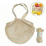 KOBWA riutilizzabili Mesh Net Produce Bags, Portatile Borsa Shopping Cotone Food Fruit Storage Borsetta per Spesa e Spiaggia, Storage, Frutta, Verdure