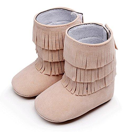 Baby Girl 's Quasten Hohe Wildleder Stiefeletten Crib Shoes Beige