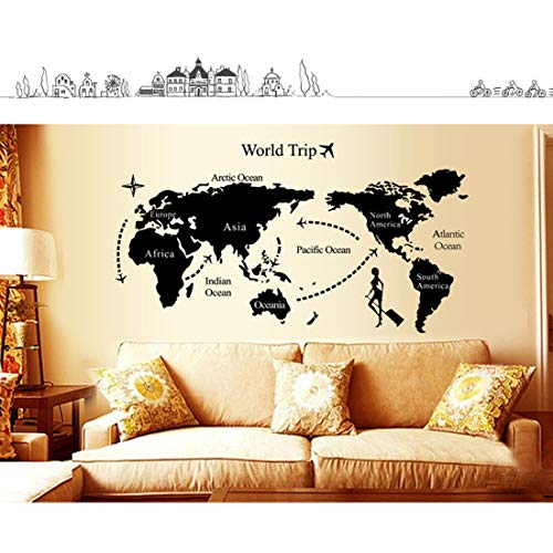 Map Poster - Good 1pc World Map Personalized Vintage Travel Poster Sticker Vacation National Geographic Retro - Black United Board Mexico City Poster Philippines Frame Posters Cool Africa - Japan, Antique Map
