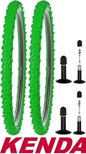 2X Kenda Fahrradreifen 24 Zoll 50-507 24x1,95 MTB Profil K-829 Reifen Fahrrad Decke Mantel Neongrün Grün mit 2X Schlauch AV (Auto Ventil)